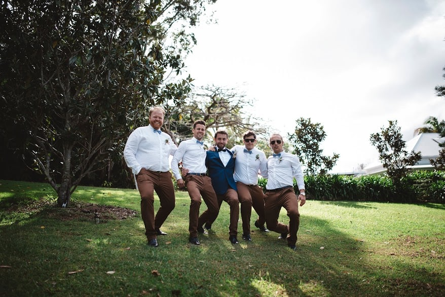 Toby and the boys reenacting the proposal stance.
